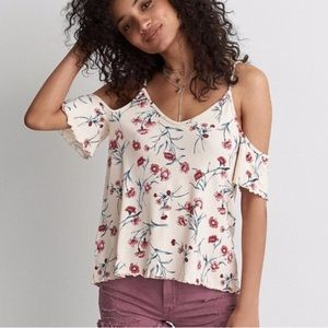 American Eagle Outfitters Cold Shoulder Floral Top